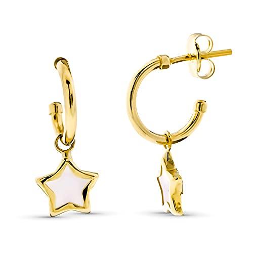 Pendientes de Aro Abierto Mujer Oro Amarillo 18 Kt / 750 Estrella de Nácar 10 Mm Cierre Presión