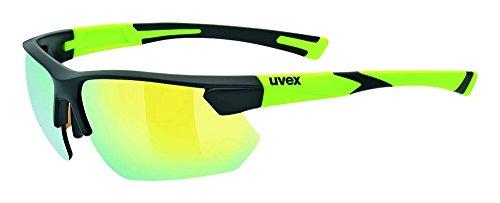 uvex Unisex– Erwachsene, sportstyle 221 Sportbrille, black mat yellow/yellow, one size