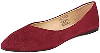 GUGUYeah Women's Fashion Casual Pointed Toe Flats Shoes Burgundy Red US Size 10