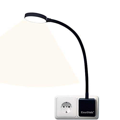 Lampara de Noche Luz Nocturna de Pared LED Regulable Flexible con Enchufe y Interruptor Tactil 4W Brillo Máximo 350Lm Luz Neutra 4000K sin Funcion de Control Remoto Lot de 1 de Enuotek