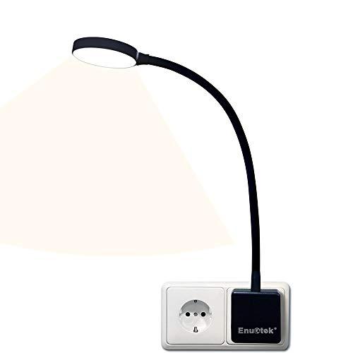 Dimmbar LED Steckerlampe Steckdosenleuchte Wandleuchte Steckdose mit Stecker und Schalter Touch 4W 350Lm Neutralweiß 4000K ohne Fernbedienung Funktion 1er Lampe von Enuotek