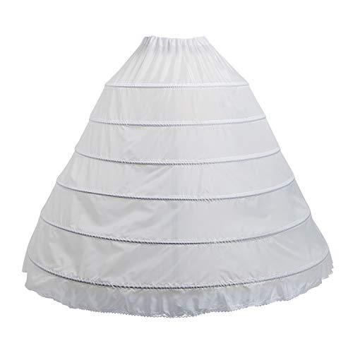 BEAUTY DY Hoop Skirt Petticoats for Women, Full Shape Women Petticoat 6 Hoop Skirt Ballgown Underskirt Slip for White Wedding Dress