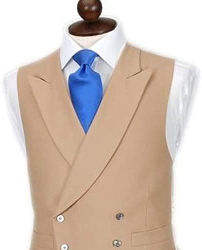 JYLMH Double Breasted Men Vests for Wedding Tuxedo with Peaked Lapel Wasit Coat Slim fit Single one Piece Custom Waistcoat Color : Khaki, Size : 4XL (EUR58)