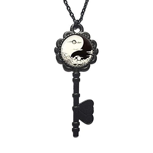 Collar de llave de día y noche, colgante de sol y luna con cadena, collar de llave Yin Yang, accesorios para hombres y mujeres-#85