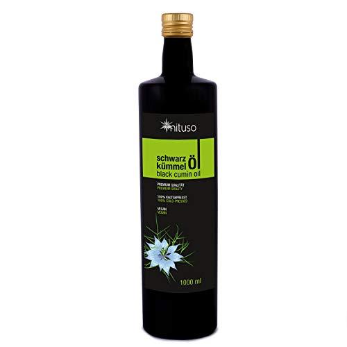 Aceite de comino negro mituso, 100% puro y prensado en frío, 1 paquete (1 x 1000 ml)
