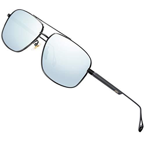 ATTCL Gafas de sol polarizadas para hombre, con protección UV, marco de metal, plateado (2022 negro/plateado espejado), Medium