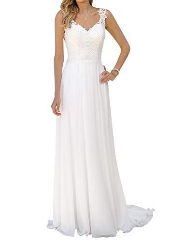Brautkleid Lang Damen Hochzeitskleider Strand Spitze Chiffon V-Ausschnitt A Linie Weiß EUR36