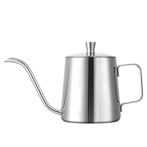 Gwhole 350 ML capacità Caffettiera, Teiera Coffee Tea Kettle Bollitore per caffè Teiera in Acciaio Inox con Beccuccio Lungo Snella
