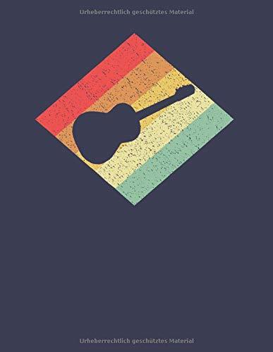 Gitarristen Notizbuch: A4 Liniert 108 Seiten - Retro Vintage Akustikgitarre Notizheft - Geschenk für Gitarristen