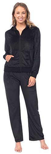 Pink Lady Womens Soft Velour Zip Hoodie and Bottoms Lounge Tracksuit (Jet Black,...