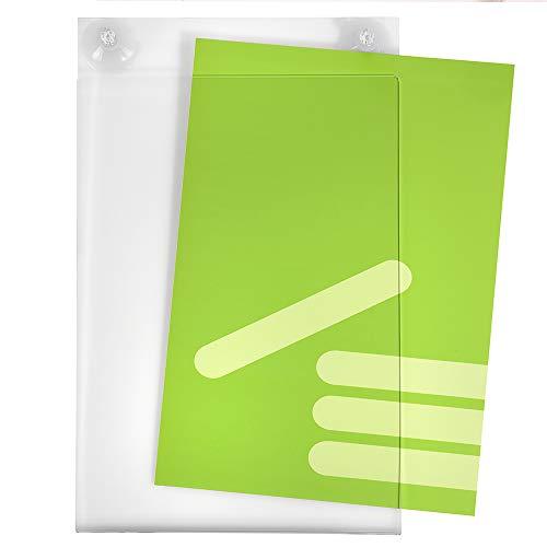 DIN A4 Hoch (210x297mm) Acrylglastasche mit Saugnäpfen für Glasscheiben/Infotasche/Blatthalter/Schildhalter/Preisschildhalter/Plakattasche/Saugnapf/Haftsauger/Saugfuß/Transparent - Zeigis®