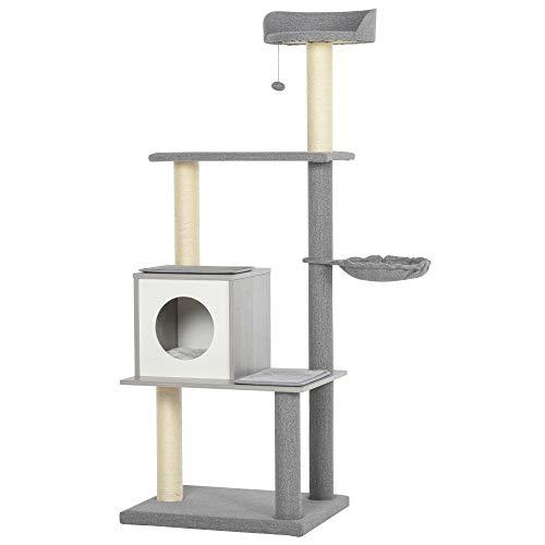 Pawhut Katzenbaum mit Kratzbaum, Kletterbaum für Katzen Plüsch-Sitzmulden mit Höhle und Liegeflächen, Vierstöckig Grau&Weiß, 61x49x160,5 cm
