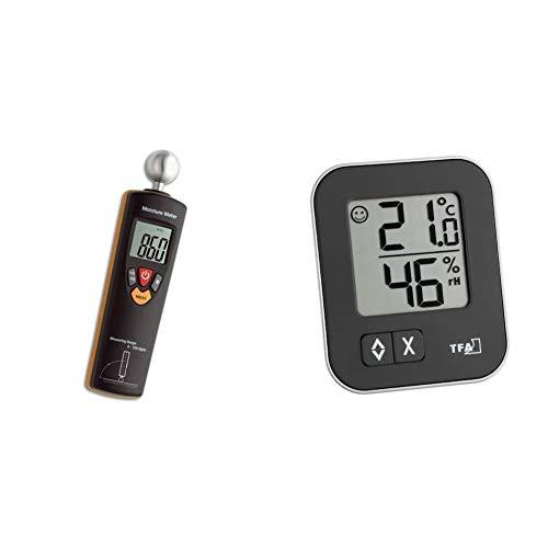 TFA Dostmann Humidcheck Contact, Materialfeuchtemessgerät, 30.5503, ideal für die Baustelle & Moxx digitales Thermo-Hygrometer, 30.5026.01, Überwachung der Luftfeuchtigkeit, 1er Pack, schwarz
