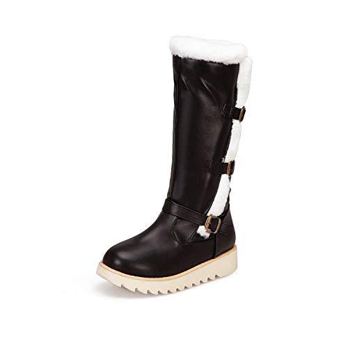 shoes Kniehoge slangenlaarzen dames sneeuwschoenen, bovenmateriaal van leer dames pluche voering warme katoenen laarzen, 34-43 casual lange slangenlaarzen platte skischoenen