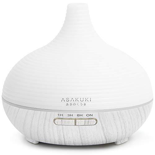ASAKUKI 300ml Aroma Diffuser für Duftöle, Premium Ultraschall Luftbefeuchter Aromatherapie Öle Diffusor mit 7-farbigem LED-Licht, BPA-Free für Schlafzimmer, Büro, Spa
