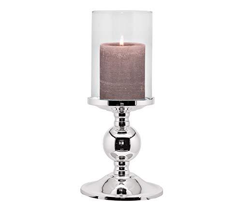 EDZARD Kerzenleuchter Bamboo, edel versilbert, anlaufgeschützt, mit Glas, Höhe 27 cm, Durchmesser 11 cm