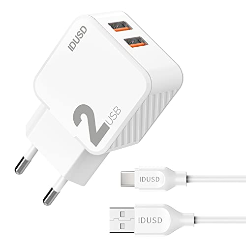 IDUSD Cargador Doble USB 2.4A con Cable 2 Metros USB Tipo C Blanco, Enchufe Cargador de Pared USB 2 Puertos Compatible Samsung S21S20 Huawei P40 Pro P30, Xiaomi Redmi 10 OPPO Vivo Tablet (Blanco)
