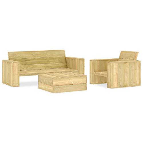 Tidyard 3-TLG.Garten-Lounge-Set Gartenmöbe | Garten-Sofagarnitur | Palettenmöbel Palettensessel Palettensofa | 1 x Sessel,1 x Bank,1 x Beistelltisch | Palettentisch Sessel Kiefernholz Imprägniert