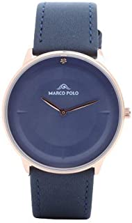 Formal watches for men, Marco Polo navy golden