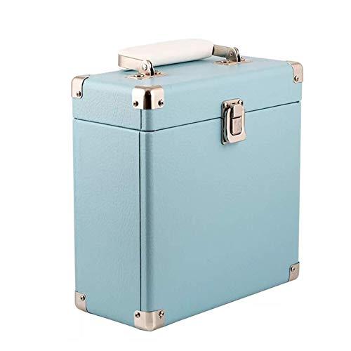 XYSQWZ Caja De Almacenamiento De Discos De Vinilo Portátil Caja De Colección De CD De DVD LP De 12 Pulgadas Maleta Portátil De Viaje De Negocios (Color: Azul)