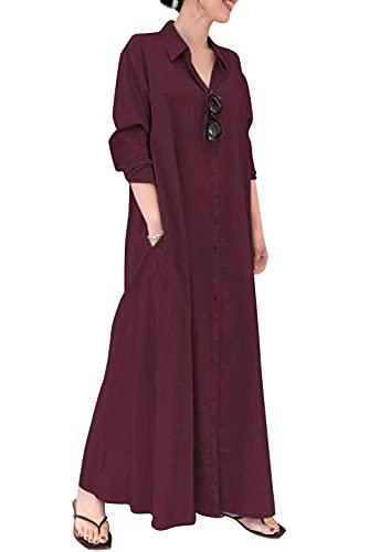 KOOSUFA Lose Maxikleider Damen Langarm Strandkleid Freizeitkleid Tunikakleid Hemdkleid Boho Mittelalter Maxikleid mit Taschen S M L XL 2XL 3XL 4XL 5XL (Weinrot, 3XL)