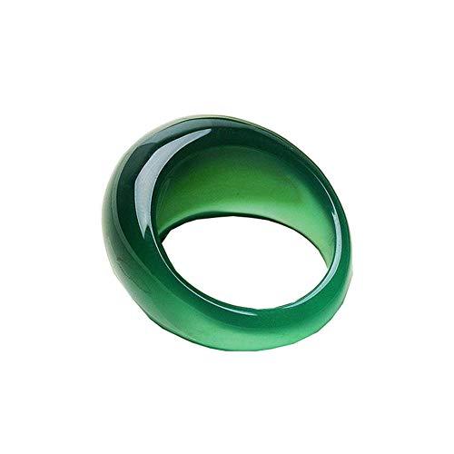 Echte Grüne Jade Ring Kristall Chalcedon Ring Schwanz Achat Ringe Männer Frauen Schmuck Glück Stein Jade Finger Ring Marke Edelstein Rubin 11 Grün