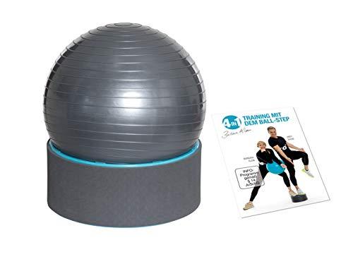FLEXI-SPORTS® Gymnastikball 4in1 Step & Ball Multifunktionales Trainingsgerät inkl. Trainings-DVD und Ballpumpe Fitness Step Sitzball Pilates Yoga Ball Balance Stuhl (Türkis)