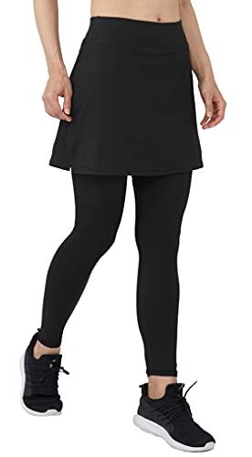 Westkun Pantalones de Falda de Mujer La Altura del Tobillo Skapri de Deportes Suaves y Informales Tenis Golf Rock Legging Tela elástica 2 en 1(Negro-Aberturas Laterales,M)