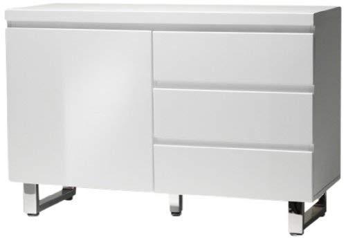 Robas Lund, Sideboard, Kommode, Sydney, Hochglanz/weiß/verchromt, 111 x 74 x 42 cm, 48903W1