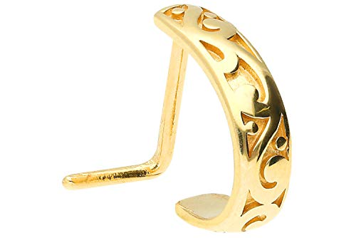 PIERCINGLINE Chirurgenstahl Nasenpiercing | orientalisches Design | Piercing Nase Stecker | Farbauswahl (Goldfarben)