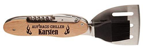 die stadtmeister BBQ-Multitool aus Edelstahl mit Holzgriff Auftragsgriller Karsten (BZW. Wunschn