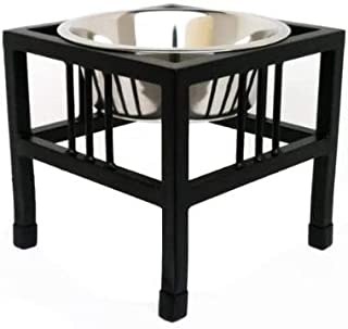 Pets Empire Pet Diner Elevated 1-Bowl Raised Dog Food Feeder Diner for Dogs and Cats Stainless Steel Food Bowl Water Bowls...
