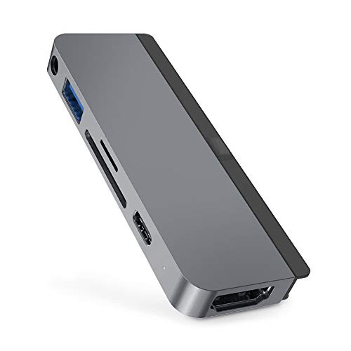 HyperDrive USB C Hub 6-in-1 mit Type-C,USB 3.1,HDMI,SD/MicroSD Slot,Audio Jack,Speziell für das Neue iPad Pro 2017/2018/2019,Space Grau