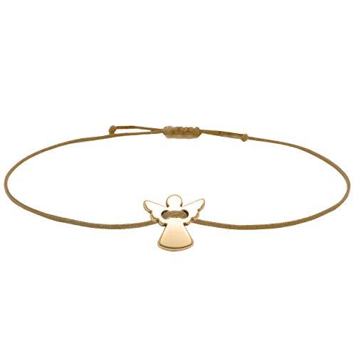 Schutzengel Armband - Rosegold Braun Größenverstellbar bis ca 21 cm - Glücksbringer Armkettchen Frauen Damen Mädchen im Schmucksäckchen als Geschenk verpackt