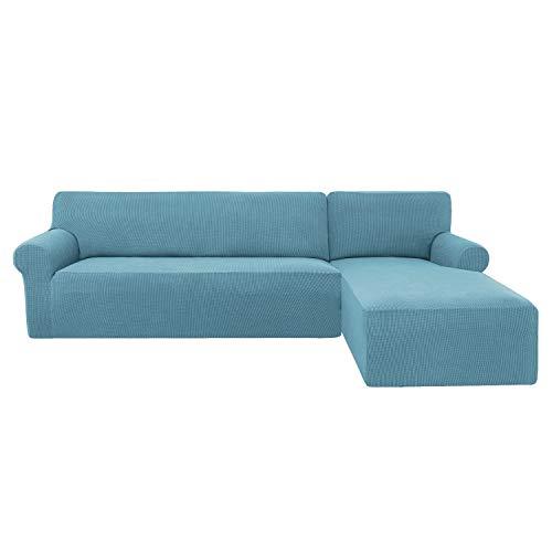 subrtex Funda Sofa Chaise Longue Brazo Derecho Elastica Largo Protector para Sofa Chaise Longue Derecha Antimanchas Ajustable (Azul Claro)