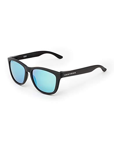 HAWKERS Gafas de Sol Carbono, para Hombre y Mujer, con Montura Mate con Trama y Lente Claro Efecto Espejo, Protección UV400, NEGRO/AZUL, One Size Unisex Adulto
