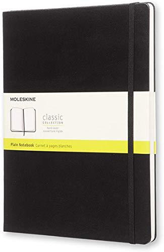 Moleskine Notebook Classic con Pagine Bianche, Taccuino Copertina Rigida e Chiusura ad Elastico, Colore Nero, Dimensione Extra Large 19 x 25 cm, 192 Pagine