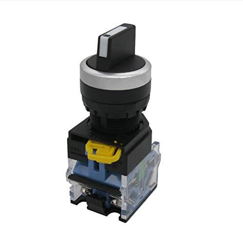 Taiss / 22mm 2 NO Cierre Mantenido Tres Selector Rotatorio de 3 Posiciones Selector Selector Seleccionar Interruptor 440V 10A (WGarantía 3 años) LA38A-20X31