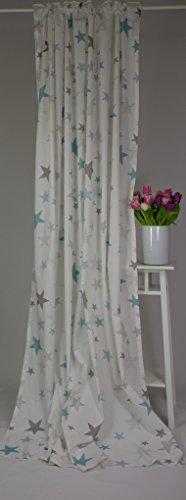 Homing - Cortina infantil con diseño de estrellas, 100% algodón, 140 x 245 cm, color blanco, gris y turquesa