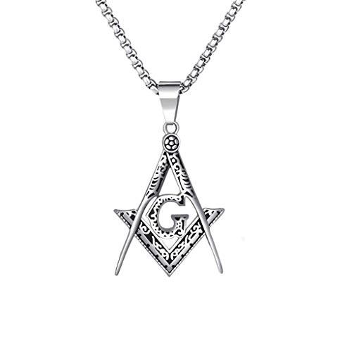 WBBNB Collar de Acero de Titanio, Collar de Acero Inoxidable Collar de Letra de Acero de Titanio Colgante G Cadena de Metal de Color Plateado, Plateado