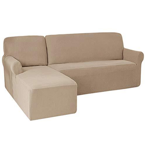 Funda elástica para sofá en forma de L, tela Jacquard de Spandex y fundas de sofá seccionales, fundas antideslizantes (chaise izquierdo (2 asientos), marrón)