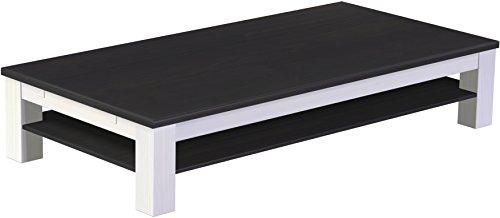 Brasilmöbel Couchtisch Rio Classico 200x100 cm Ebenholz Weiß mit Ablage Wohnzimmertisch Holz Tisch Pinie Massivholz Stubentisch Beistelltisch Echtholz Größe und Farbe wählbar
