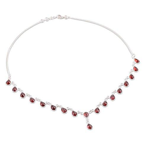 NOVICA .925 Sterling Silver Garnet Waterfall Pendant Necklace 'Scarlet Droplets', 16.5' (13.5cttw)