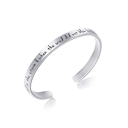Awegift Inspirational Jewelry Cuff Bracelet for Teen Girls Handmade Silver Engraved Mantra Bangle