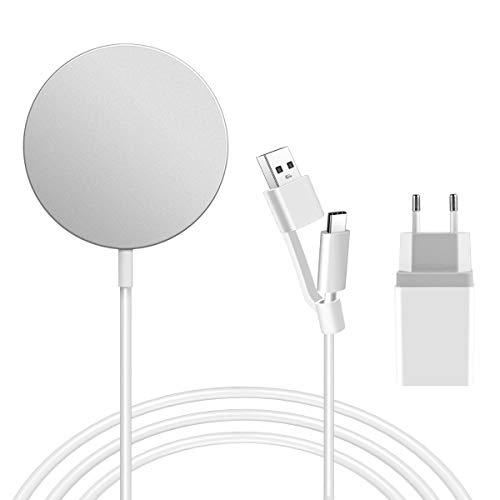 AICase Cargador Inalámbrico Magnético Rápido, Wireless Charger con Cable con Puerto USB A y Tipo C Solo para 12/12 Mini / 12 Pro / 12 Pro MAX, AirPods Pro (con Adaptador)