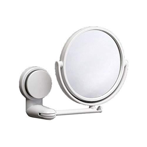 FCS Bathroom Kosmetikspiegel Wandmontage ohne Bohren, Schminkspiegel Saugnapf Mit Vergrößerung 3fach, Duschspiegel, 360° Schwenkbar, Ausziehbar, Weiß, 15 cm