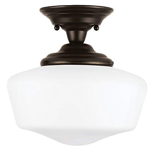 Sea Gull Lighting 77436-782 Academy Transitional One - Light Semi-Flush Mount Fixture, Small, Brushed Nickel