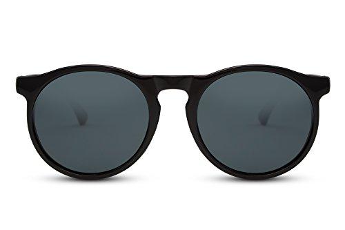 Cheapass Occhiali da Sole Unisex Rotondi Neri con Lenti Neri UV400 Protetti