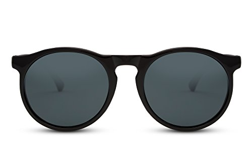 Cheapass Gafas de Sol Unisex Redondas de Diseñador Inspiradas Sheny Negras