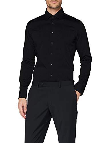 Seidensticker Herren Business Bügelfreies Hemd mit sehr schmalem Schnitt - X-Slim Fit, Schwarz (Schwarz 39), 37